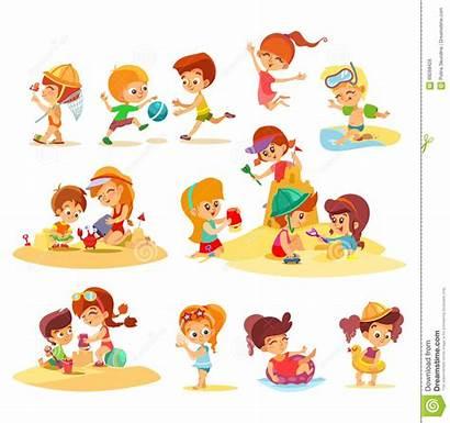 Plage Enfants Samen Playing Together Spelen Jouant