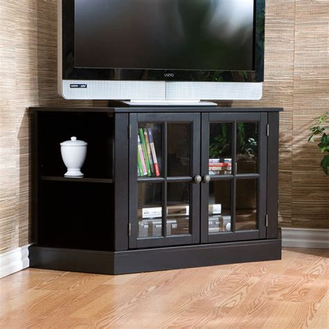 Tv Stand With Glass Cabinet Door And Corner Shelves