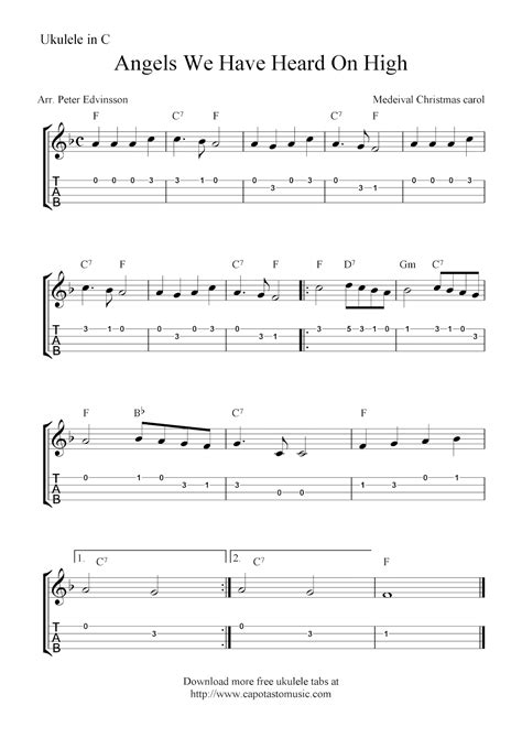 ukulele christmas angels sheet songs tabs tab heard beginner banjo chords capotastomusic uke guitar piano