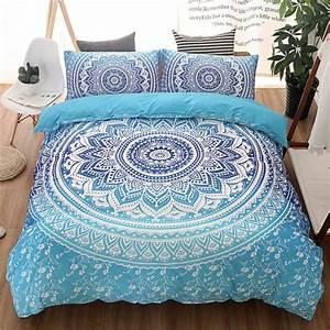 King Size Bettwäsche : bohemian queen king size duvet cover set blue printing quilt cover bed linen boho bedding sets ~ Watch28wear.com Haus und Dekorationen