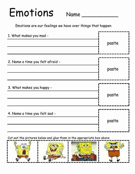 emotions worksheet great for elementary school empowered