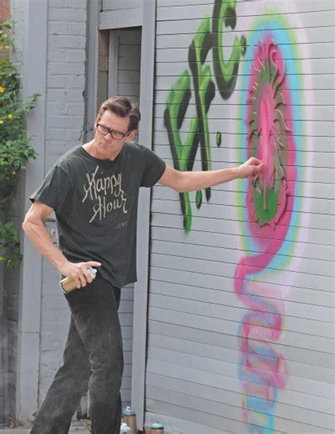 carrey jim graffiti caught painting