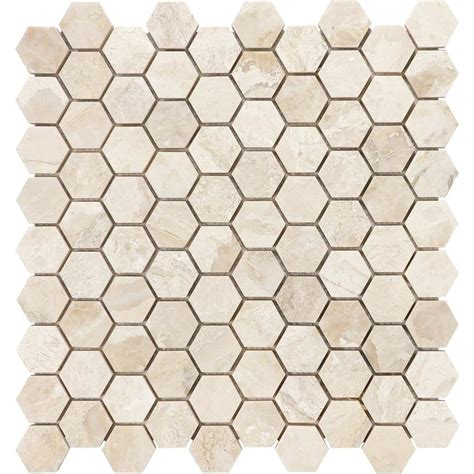 honeycomb mosaic floor tiles shop anatolia tile impero reale honeycomb mosaic marble floor and wall tile common 12 in x 12
