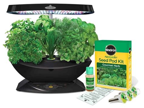 indoor herb garden kit miracle gro aerogarden 7 pod led indoor garden with