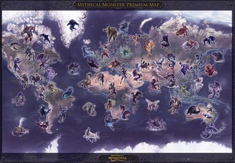 mythical monsters map  size premium edition