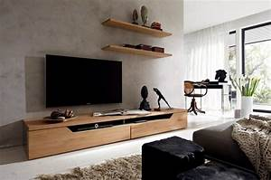 Meuble Salon Bois : meuble tv design 23 meubles bas pour moderniser le salon ~ Teatrodelosmanantiales.com Idées de Décoration