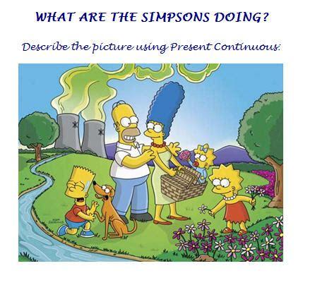 simpsons  present progressive worksheet