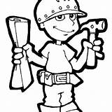 Construction Worker Coloring Tools Utensils Hat Kitchen Tool Getcolorings Printable Gardening sketch template