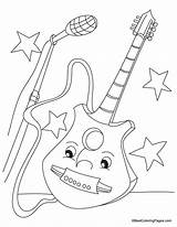 Guitar Coloring Pages Electric Colouring Printable Popular Bass Coloringhome Getcoloringpages Boy sketch template