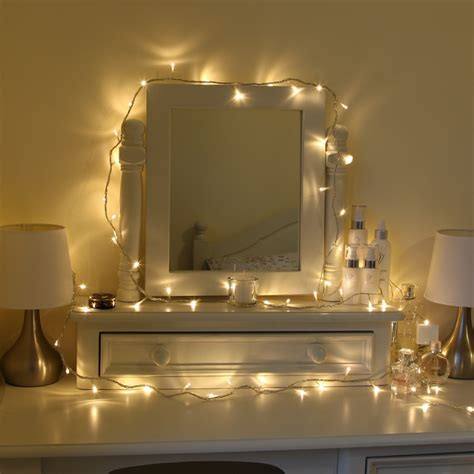 Led Lights For Uni Room by Pretty Warm Bedroom Fairylights Around A Dresser Ideas
