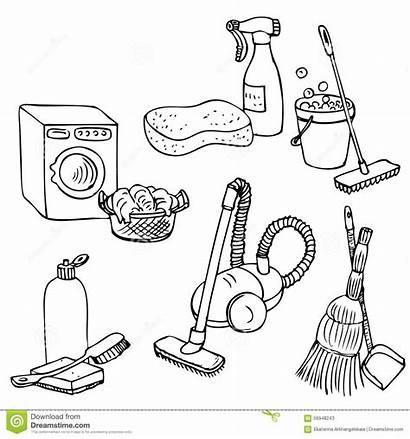 Schoonmaken Laundry Drawn Krabbel Geplaatst Wordt Huis