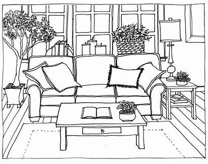 Living Drawing Perspective Line Drawings Interior Easy