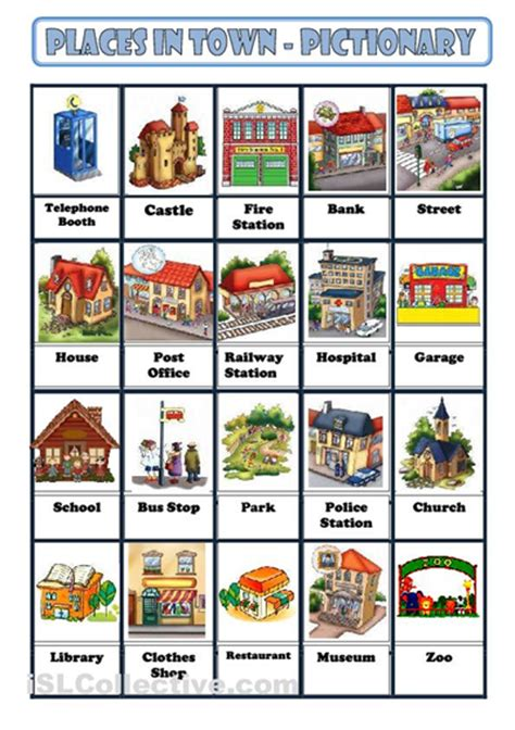 materials to learn places in a city