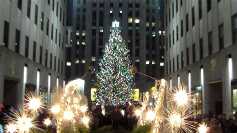 times square christmas tree happy holidays from the rockefeller center tree lighting in new york city usa