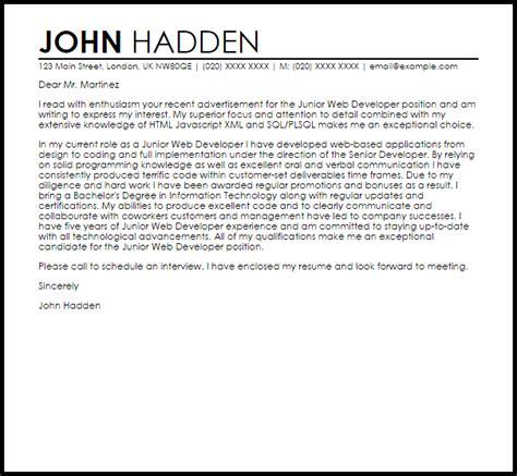junior web developer cover letter sle livecareer