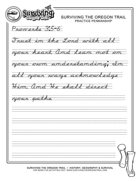 Free Penmanship Practice Cursive Using Bible Verses  Proverbs 356