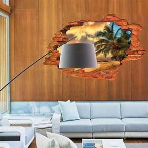 Super Deal 3D Wall Decals Sunset Seascape 3D Window View ...