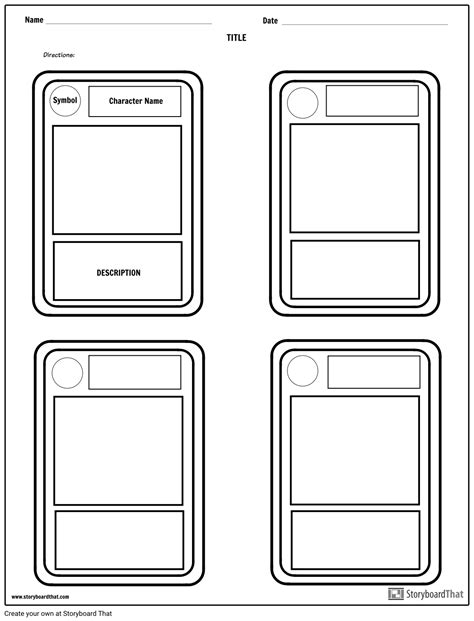 card template for character trading cards storyboard by worksheet templates