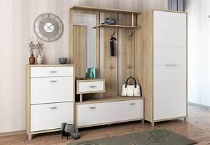 Garderobe 3 Teilig : garderobe dielenset 3 teilig eiche sonoma wei hochglanz ne dielen sets diele und flur ~ Indierocktalk.com Haus und Dekorationen