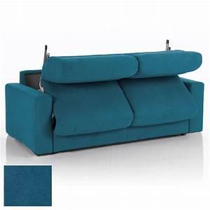 Canapé Bleu Convertible : canap convertible 3 places maxi tissu d houssable bleu canard maison et styles ~ Teatrodelosmanantiales.com Idées de Décoration