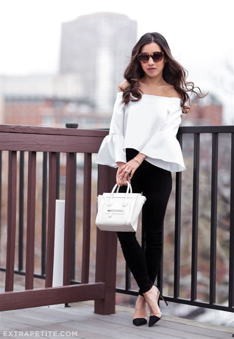 Black and White | Nano bag Bell sleeve top and Celine