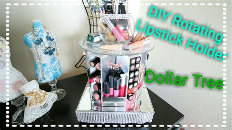 dollar tree diy rotating bling lipstick tier organizer