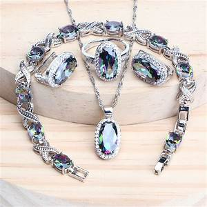 925, Silver, Magic, Rainbow, Cz, Jewelry, Sets, Women, Bracelets, Rings, Natural, Silver, Earrings, Wedding