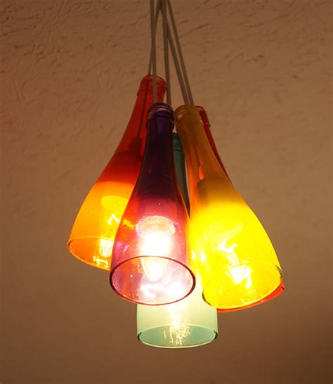 colorful diy wine bottle chandelier mod podge rocks