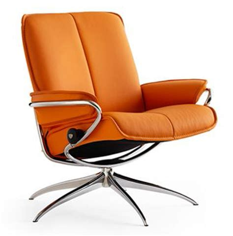 ekornes stressless city low back leather recliner chair