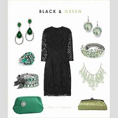 Black Lace Dress With Green Accessories