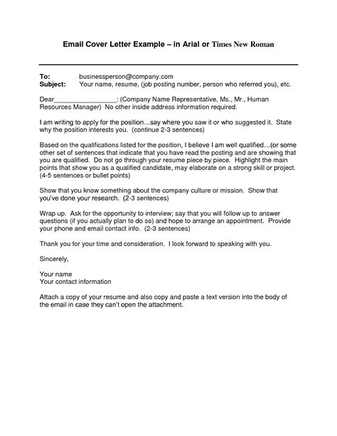 Cover Letter Template Email Format by Cover Letter Template Via Email 2 Cover Letter Template