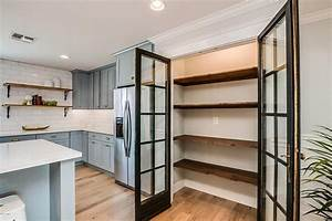 Kitchen pantry with stacked reclaimed wood shelves for Wood shelves for kitchen pantry