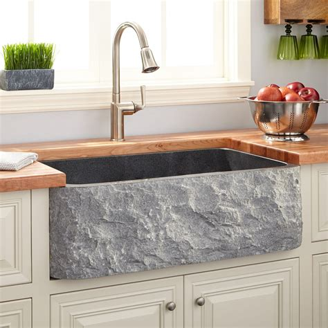 "33"" Polished Granite Farmhouse Sink   Chiseled Apron"