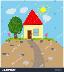 House Garden Illustration Childs Picture Draw Stock ...