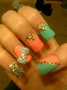 Acrylic nails coral blue and gold bow diamonds   Cute Nails