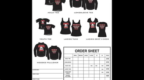 shirt order form template excel youtube