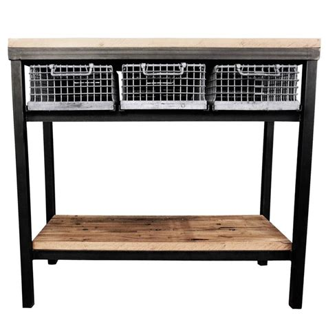 console table with baskets industrial console table with galvanized baskets and