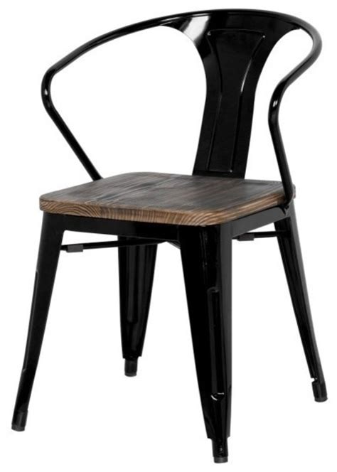 grand metal arm chair set of 4 black industrial