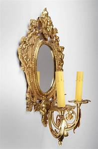Pair, Of, Vintage, Brass, Mirrored, Sconces, With, Two, Lights, Pia, U0026, 39, S, Antique, Gallery