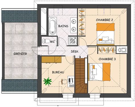 plan maison à étage 4 chambres plan maison etage 3 chambres segu maison