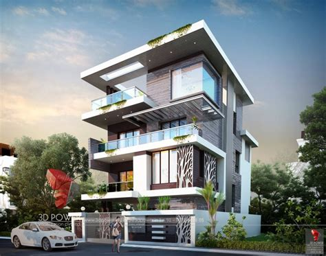 exterior design rendering  modern house threed