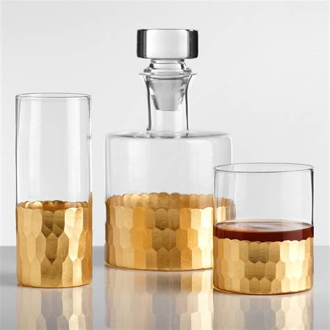 Gold Faceted Barware Collection  World Market