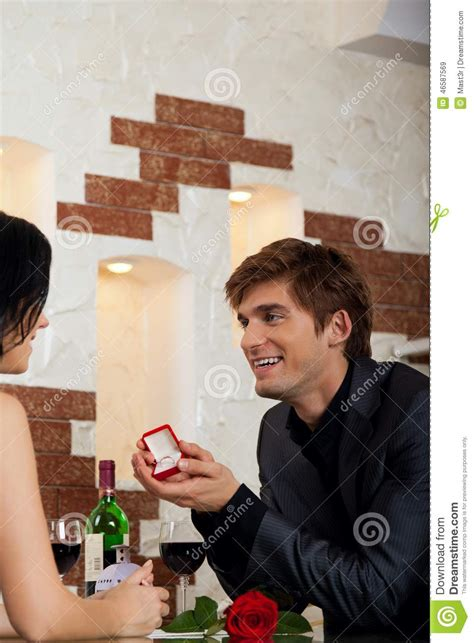 marriage proposal man give ring   girl stock photo