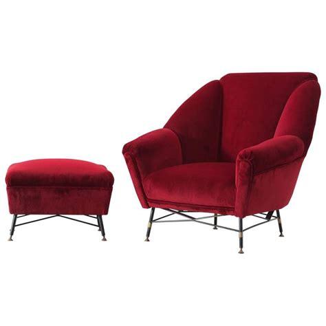 italian velvet lounge chair with accompanying ottoman