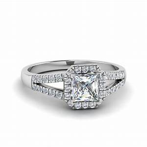 Halo princess cut diamond split shank engagement ring in for Split shank engagement ring with wedding band