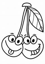 Coloring Cherries Pages Cherry Cartoon Smiling Funny Face Printable Fruits Faces Categories Momjunction A4 Jeux Parentune Enregistree Depuis Mentve Innen sketch template