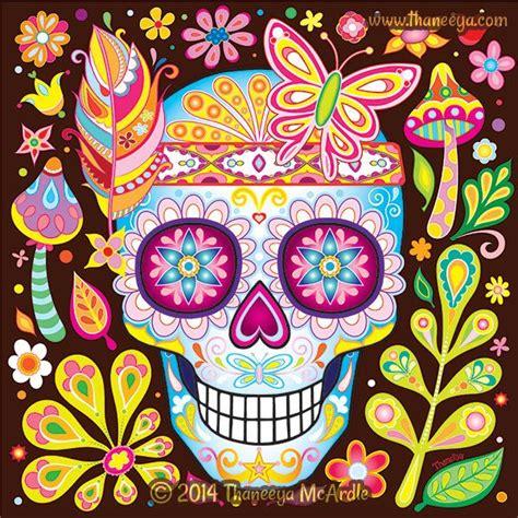 Colorful Nature Sugar Skull Thaneeya Art