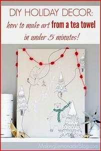 Easy Christmas Art Idea: Tea Towel Wrapped Canvas Making