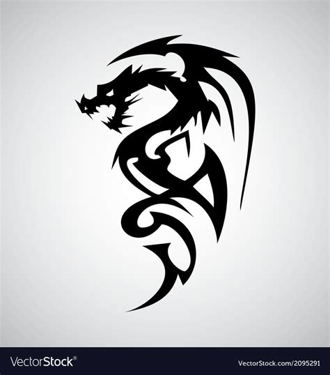 tribal dragon tattoo design royalty  vector image