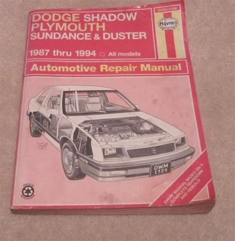 how to download repair manuals 1993 plymouth sundance spare parts catalogs sell dodge shadow plymouth sundance duster repair manual 1987 thru 1994 motorcycle in